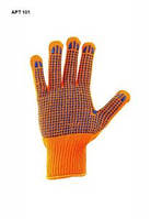 Перчатки с ПВХ точкой,оранжевые