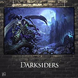 Постер Darksiders, Дарксайдерс, Смерть, замок. Размер 60x41см (A2). Глянцевая бумага