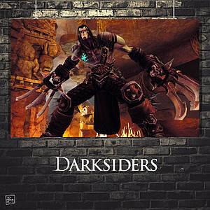 Постер Darksiders, Дарксайдерс, Смерть, скриншот. Размер 60x34см (A2). Глянцевая бумага