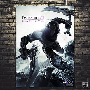 Постер Darksiders 2 Dearh Lives, Дарксайдерс 2, Смерть. Размер 60x41см (A2). Глянцевая бумага