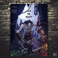 Постер Darksiders, Дарксайдерс, Смерть. Размер 60x42см (A2). Глянцевая бумага