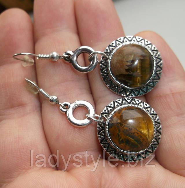 купить украшение с тигровым соколиным глазом серьги кольцо
