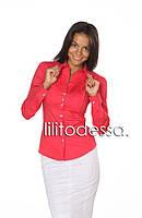 Рубашка с защипами на груди красный, фото 1