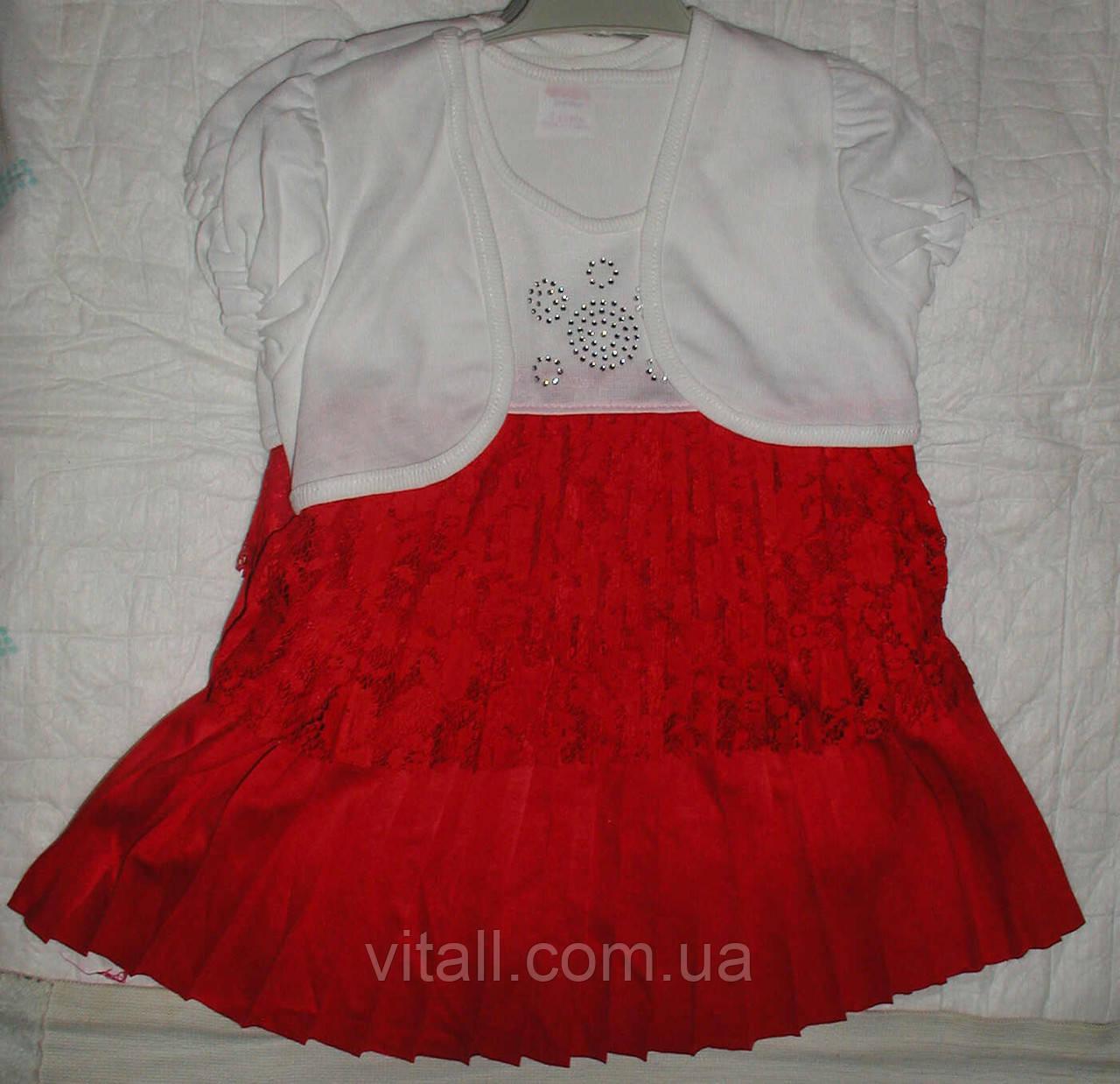 Платье гипюр плиссе1-3года красное