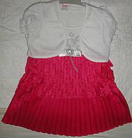 Платье гипюр плиссе1-3года малиновое