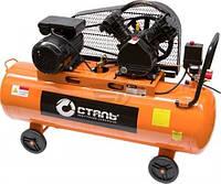 Воздушный компрессор ременной 8 бар для СТО с ресивером на 50 литров Сталь, для покраски авто, шиномонтажа