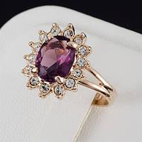 Великолепное кольцо с кристаллами Swarovski, покрытие золото 0496
