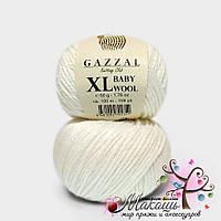 Пряжа Бэби вул XL Baby Wool XL Gazzal, 801, белый
