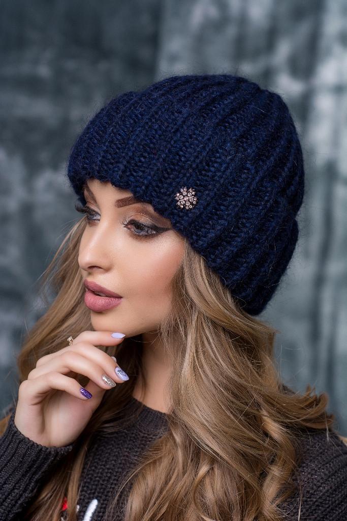 "Женская шапка FLIRT""Люси"" (kid mohair) 1121  синий"