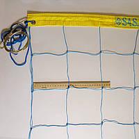 """Волейбольная сетка """"Премиум 15"""" с тросом, шнур D 2,5мм., ячейка 15см. (сине - желтая)"""