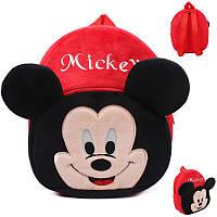 Детский рюкзак Микки маус, красный плюшевый рюкзак, фото 1