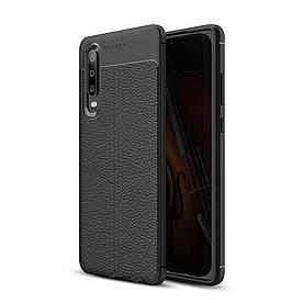 Чехол накладка для Huawei P30 силиконовый, Фактура кожи, черный