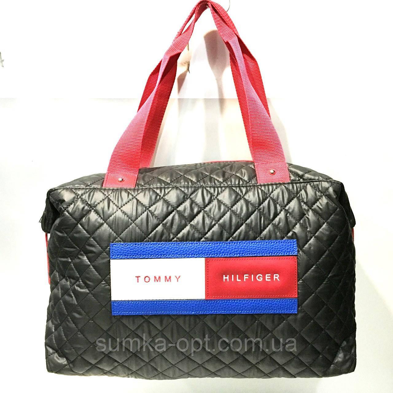 Брендовые спортивные сумки Tommy Hilfiger (черный глянцевый)28*39см