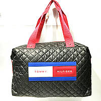 Брендовые спортивные сумки Tommy Hilfiger (черный глянцевый)28*39см, фото 1