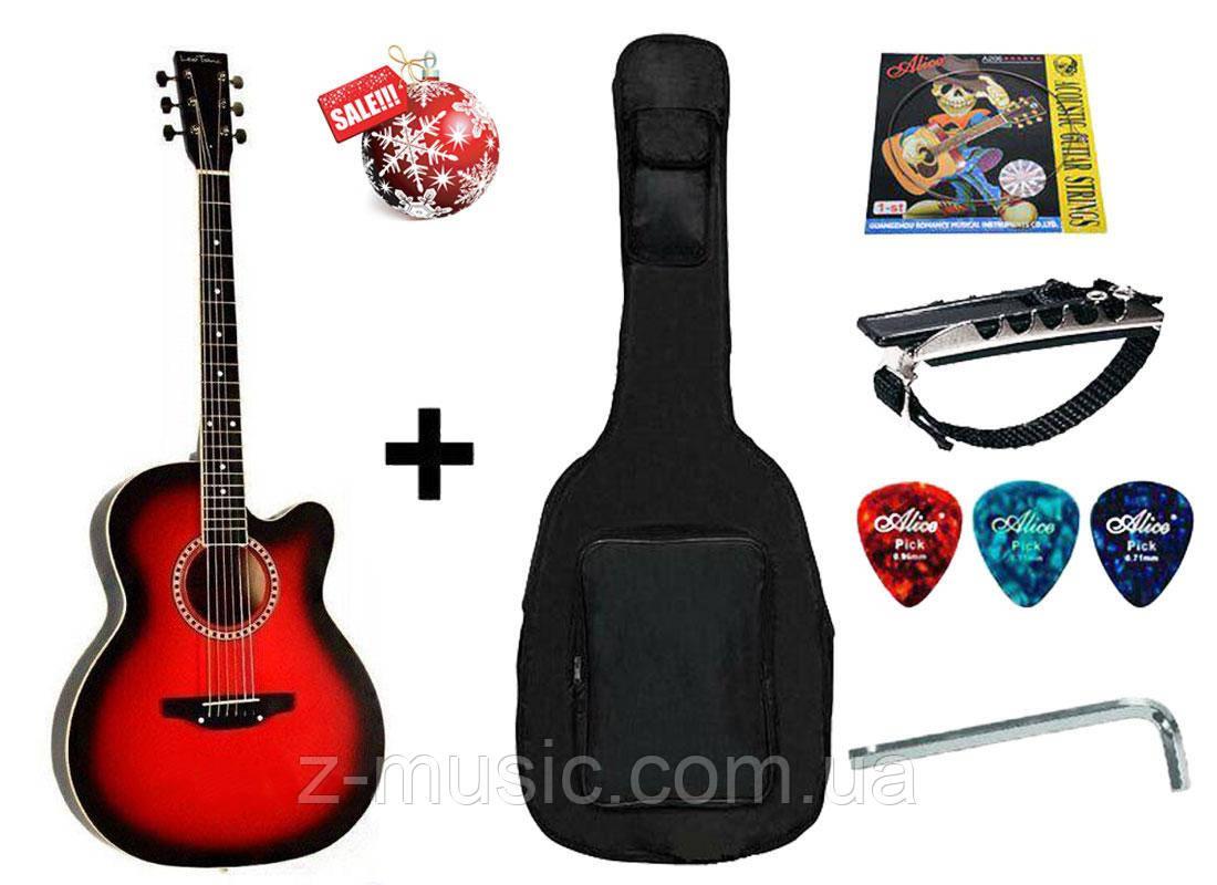 Гитара акустическая Trembita Leotone L-01 RD (чехол, медиатор, каподастр, струна, ключ)
