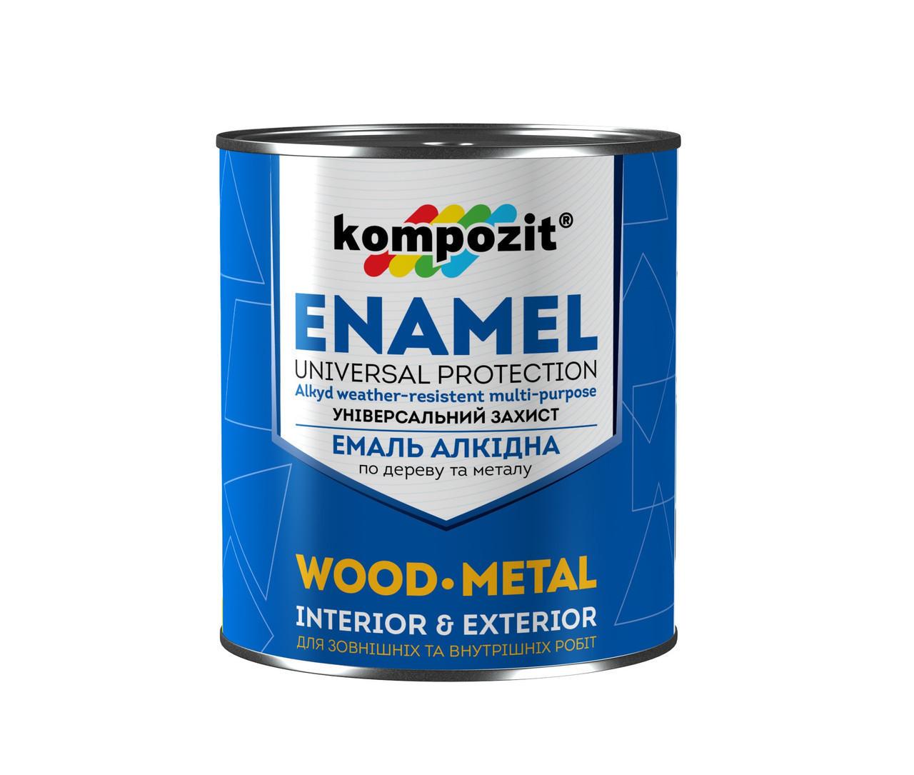 Емаль алкідна по дереву і металу Kompozit Enamel 0.9 кг Яскраво зелений
