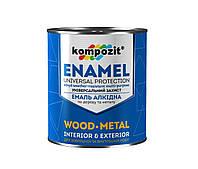 Емаль алкідна по дереву і металу Kompozit Enamel 0.9 кг Чорний