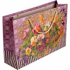 Пакет цветной большой «Крафт Цветы» горизонтальный 36×25×10 см  6001, фото 2