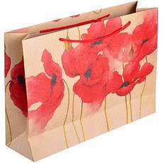 Пакет цветной большой «Крафт Цветы» горизонтальный 36×25×10 см  6001, фото 3