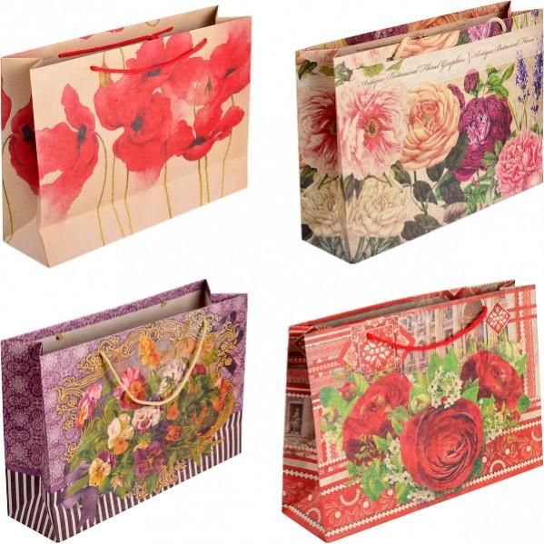 Пакет цветной большой «Крафт Цветы» горизонтальный 36×25×10 см  6001