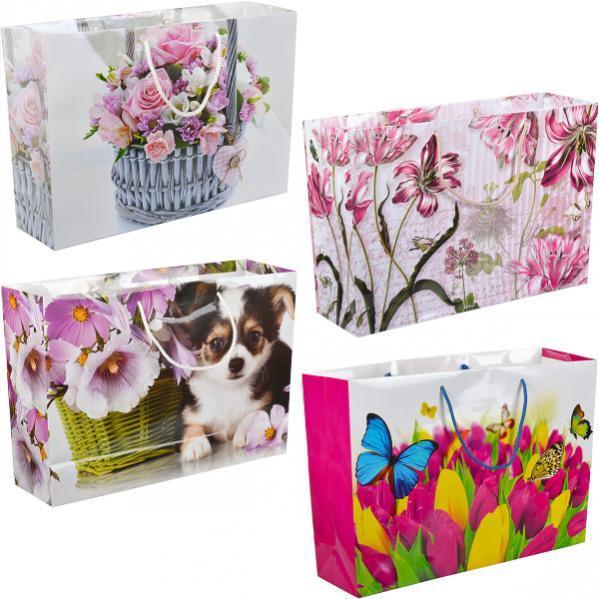 Пакет цветной большой «Крафт Цветы» горизонтальный 36×25×10 см  5006