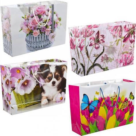 Пакет цветной большой «Крафт Цветы» горизонтальный 36×25×10 см  5006, фото 2