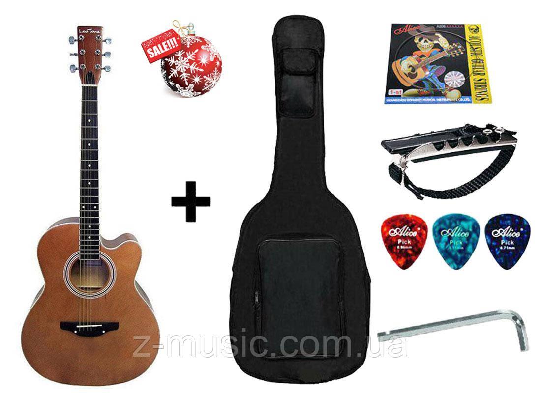 Гитара акустическая Trembita Leotone L-01 Nat (чехол, медиатор, каподастр, струна, ключ)