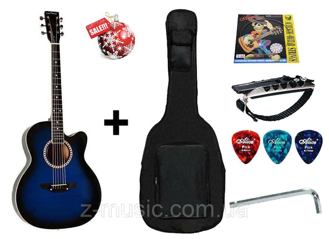 Гитара акустическая Trembita Leotone L-01 BL (чехол, медиатор, каподастр, струна, ключ)