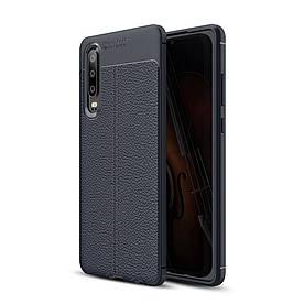 Чехол накладка для Huawei P30 силиконовый, Фактура кожи, темно-синий