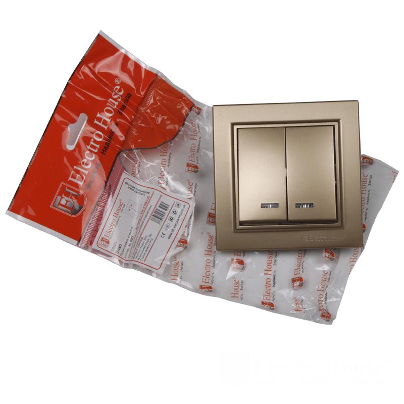 Выключатель с подсветкой двойной золото Enzo EH-2184-LG