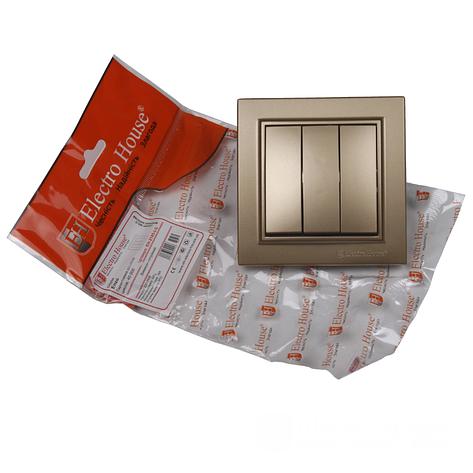 Выключатель тройной золото Enzo EH-2185-LG, фото 2