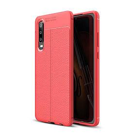 Чехол накладка для Huawei P30 силиконовый, Фактура кожи, красный