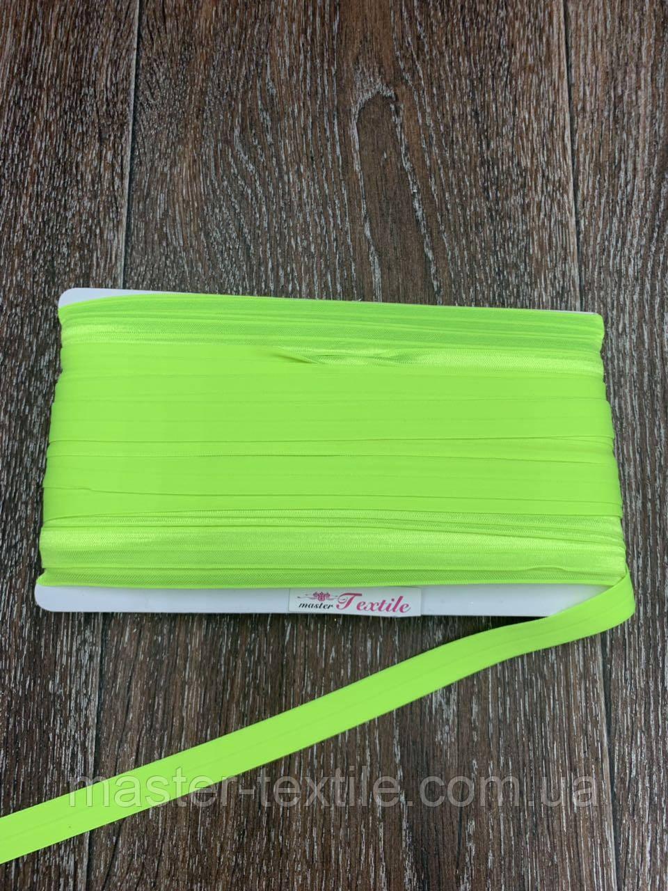 Бейка Стрейчевая 15 мм, 50 ярдов, глянцевая (неоново салатный)