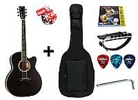 Гитара акустическая Trembita Leotone L-01 BK (чехол, медиатор, каподастр, струна, ключ)