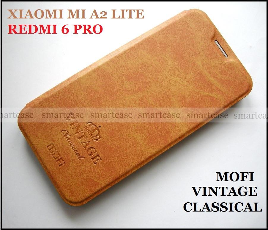 Классический коричневый чехол книжка Xiaomi Mi A2 Lite (Redmi 6 Pro) оригинальный Mofi Vintage Classical