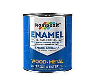 Емаль алкідна по дереву і металу Kompozit Enamel 0.8 кг Сріблястий