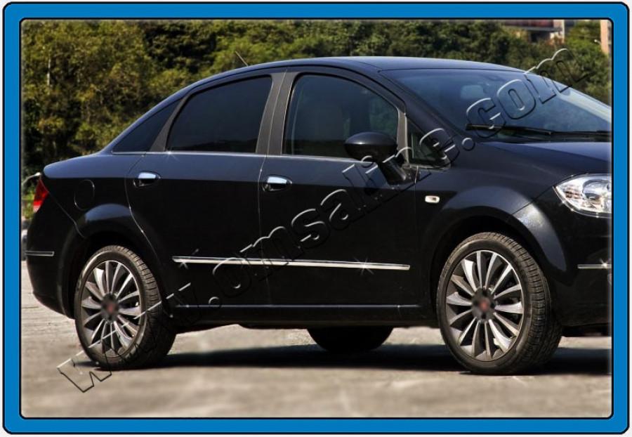 Молдинг дверной (4 шт, нерж.) - Fiat Linea 2006+ и 2013+ гг.