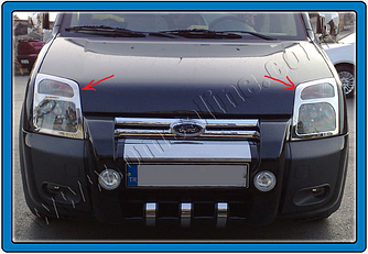 Накладки на фары (2 шт, нерж.) - Ford Connect 2002-2006 гг.