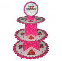 Подставка для маффинов З Днем Народження розовая F-050501