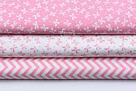 """Набор сатиновых тканей 40*40 см из 3 шт """"Густые бантики и зигзаг"""" бело-розовый №115"""