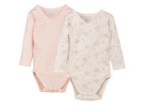 Боди для девочки светло розовый и белый орегами Lupilu pure collection р.62/68