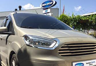 Реснички на фары (2 шт, нерж) - Ford Courier 2014+ гг.