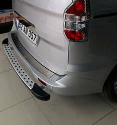 Накладка на задній бампер (матова, нерж) - Ford Courier 2014+ рр.
