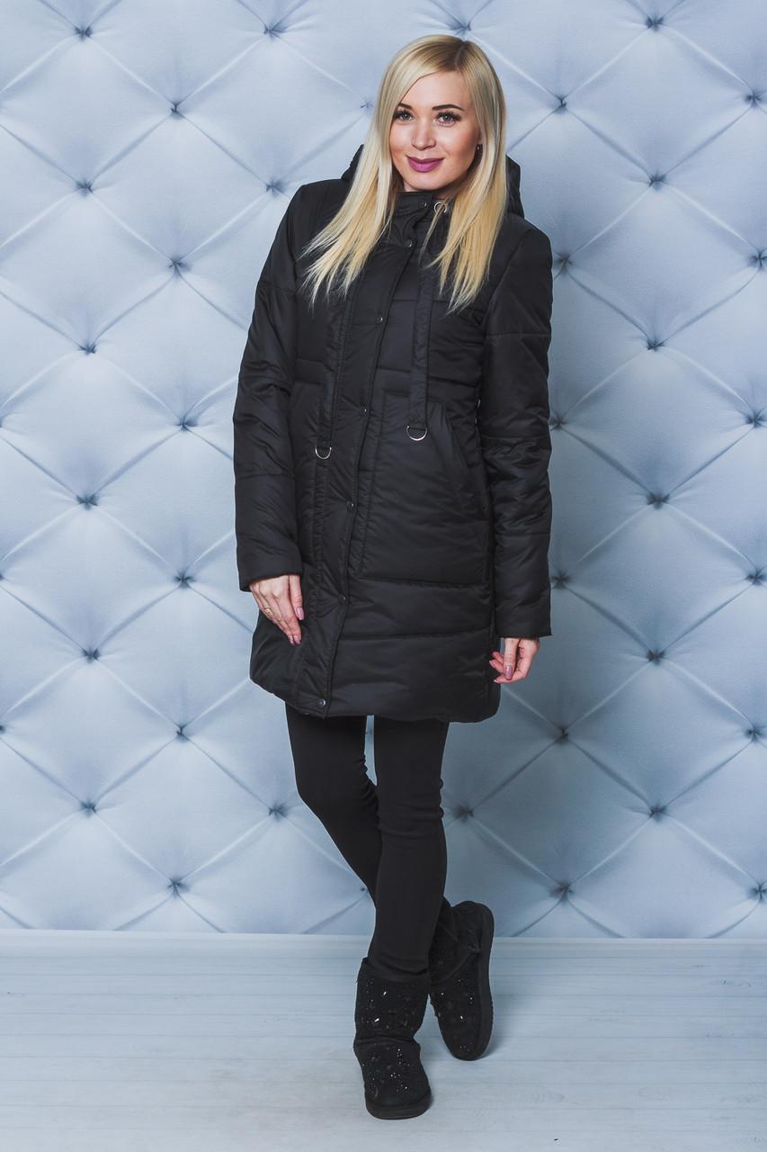 Зимнее женское пальто черное