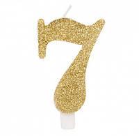 Свеча цифра 7 золотая с блестками 50837