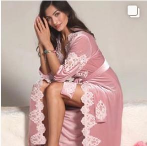 Женский велюровый домашний халат
