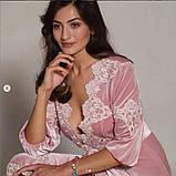 Женский велюровый домашний халат, фото 2