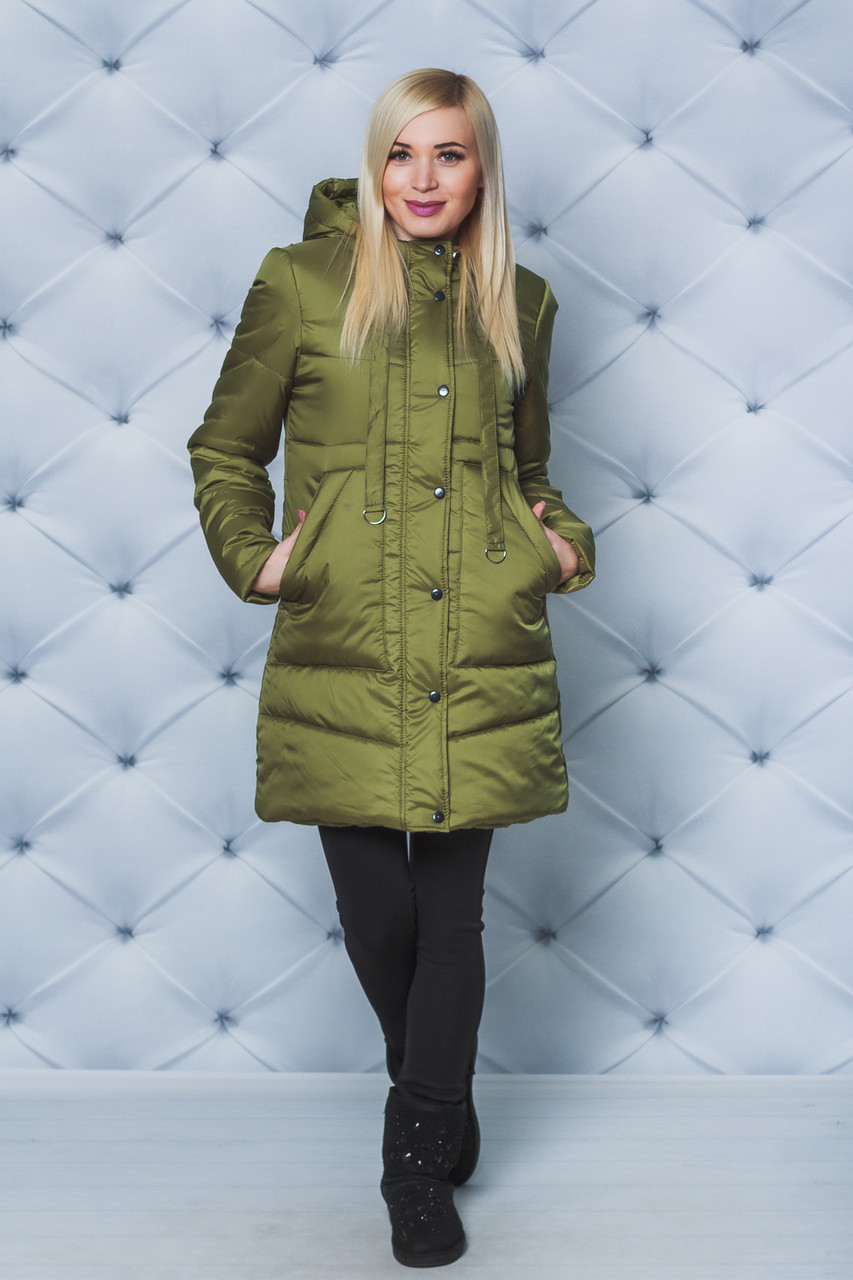 Зимнее женское пальто олива