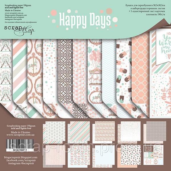 Набор двусторонней бумаги 30х30см от Scrapmir Happy Days 11шт