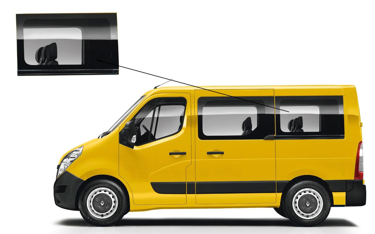 Боковое стекло короткая база Opel Movano 2010-2018 заднее левое